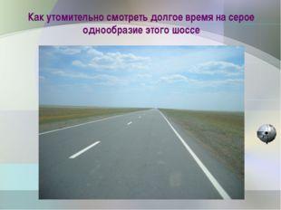 Как утомительно смотреть долгое время на серое однообразие этого шоссе