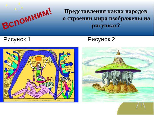 Вспомним! Рисунок 1 Рисунок 2 Представления каких народов о строении мира изо...