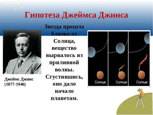 Гипотеза Джеймса Джинса Звезда прошла близко от Солнца, вещество вырвалось из...