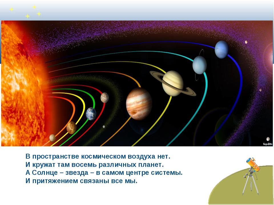 В пространстве космическом воздуха нет. И кружат там восемь различных планет....
