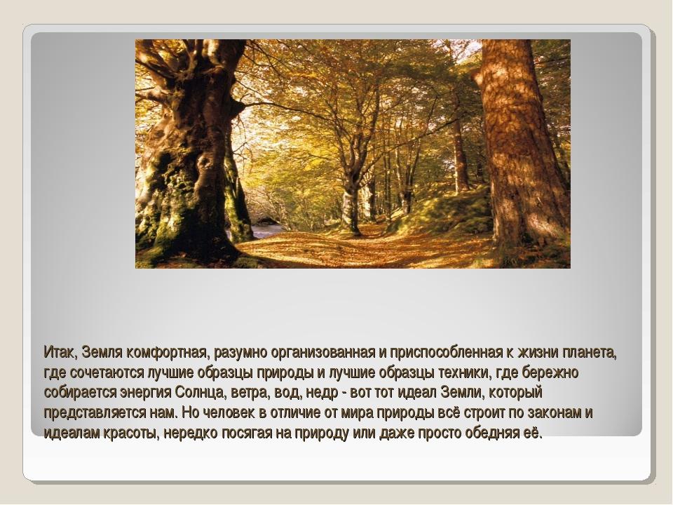 Итак, Земля комфортная, разумно организованная и приспособленная к жизни план...
