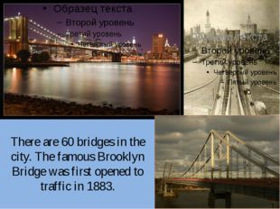 There are 60 bridges in the city. The famous Brooklyn Bridge was first opened