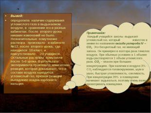 Вывод: определила наличие содержания углекислого газа в выдыхаемом воздухе, в
