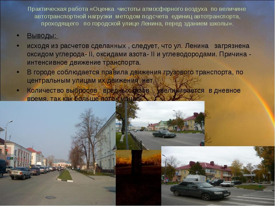 Практическая работа «Оценка чистоты атмосферного воздуха по величине автотран...