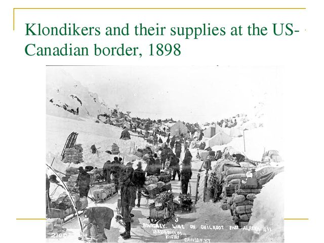 Klondikers and their supplies at the US-Canadian border, 1898