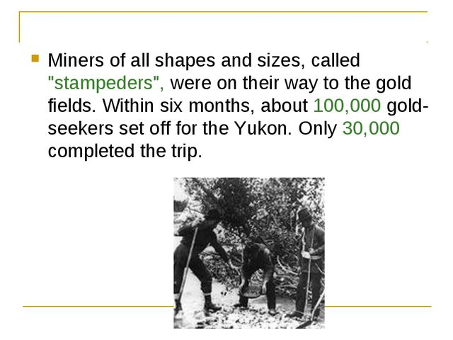 "Miners of all shapes and sizes, called ""stampeders"", were on their way to the..."