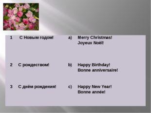 1 С Новым годом! a) Merry Christmas! JoyeuxNoёl!  2 С рождеством! b) Happy B