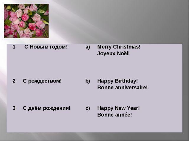 1 С Новым годом! a) Merry Christmas! JoyeuxNoёl!  2 С рождеством! b) Happy B...