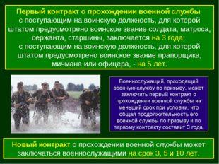 Первый контракт о прохождении военной службы с поступающим на воинскую должно