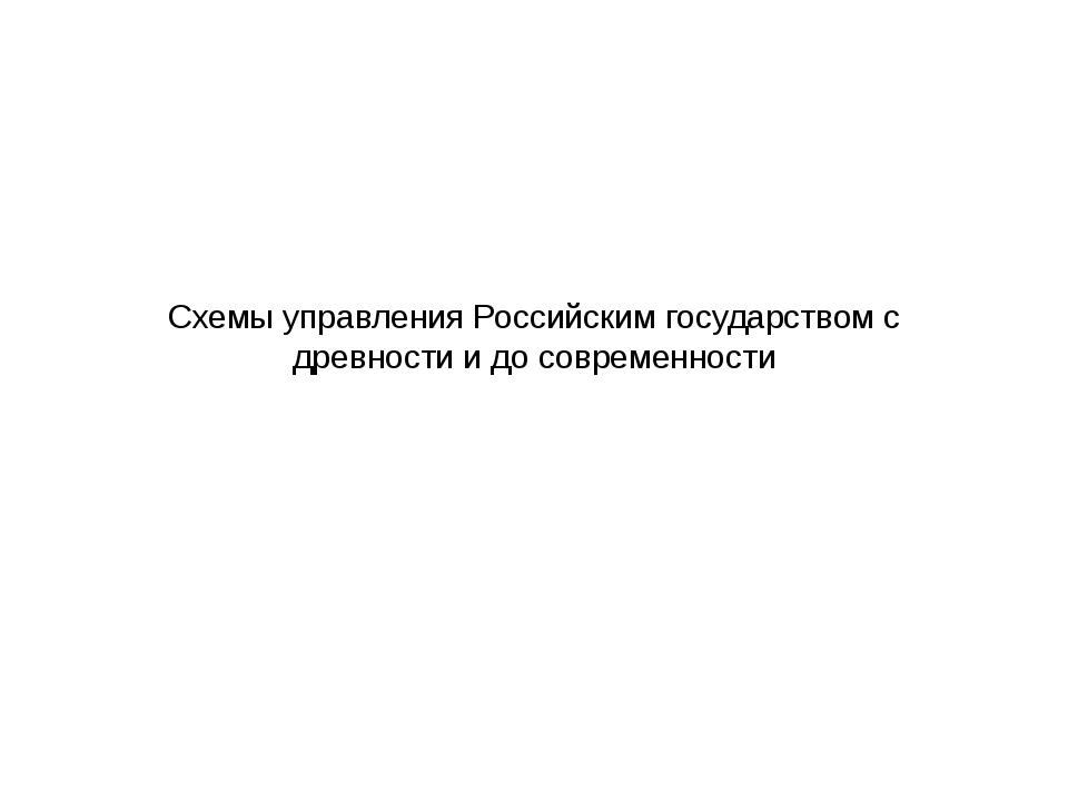 Схемы управления Российским государством с древности и до современности