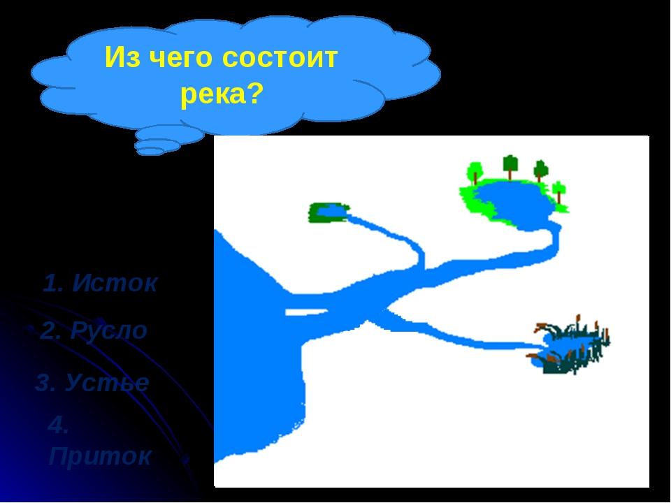 Из чего состоит река? 1. Исток 2. Русло 3. Устье 4. Приток