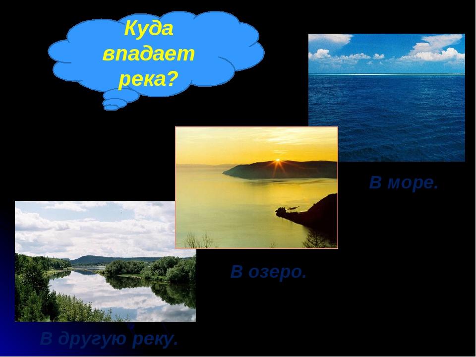 Куда впадает река? В другую реку. В озеро. В море.