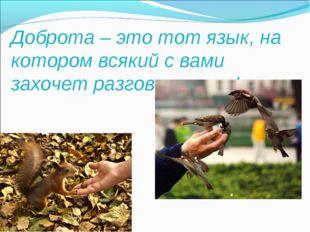 Доброта – это тот язык, на котором всякий с вами захочет разговаривать!