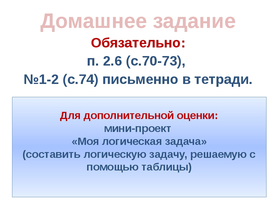 Обязательно: п. 2.6 (с.70-73), №1-2 (с.74) письменно в тетради. Домашнее зада...