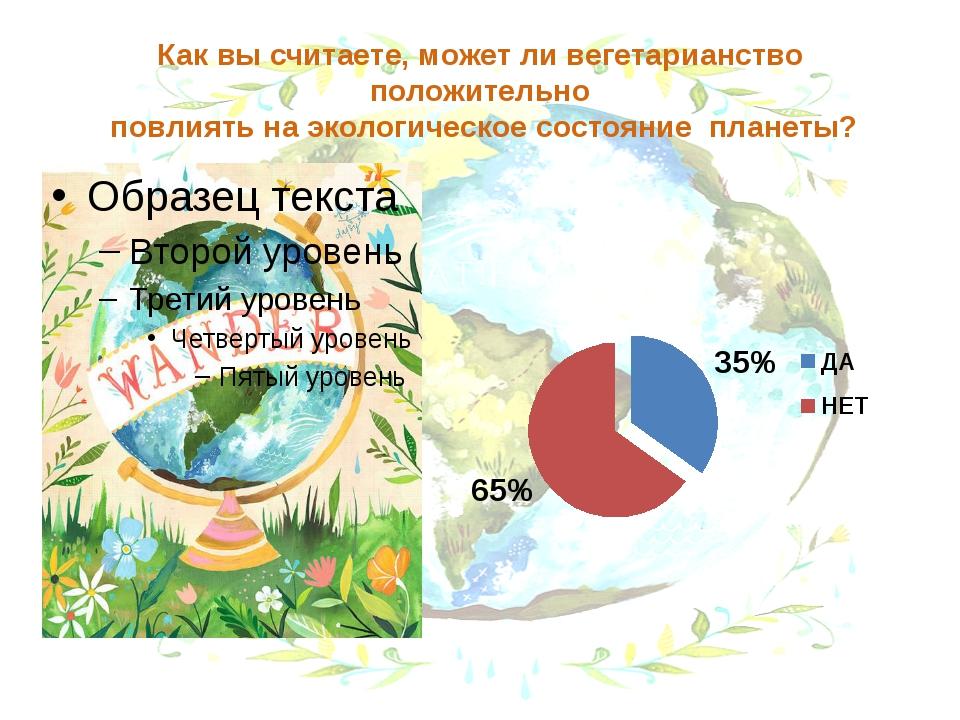Как вы считаете, может ли вегетарианство положительно повлиять на экологическ...