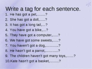 Write a tag for each sentence. He has got a pet,…….? She has got a doll,…..?