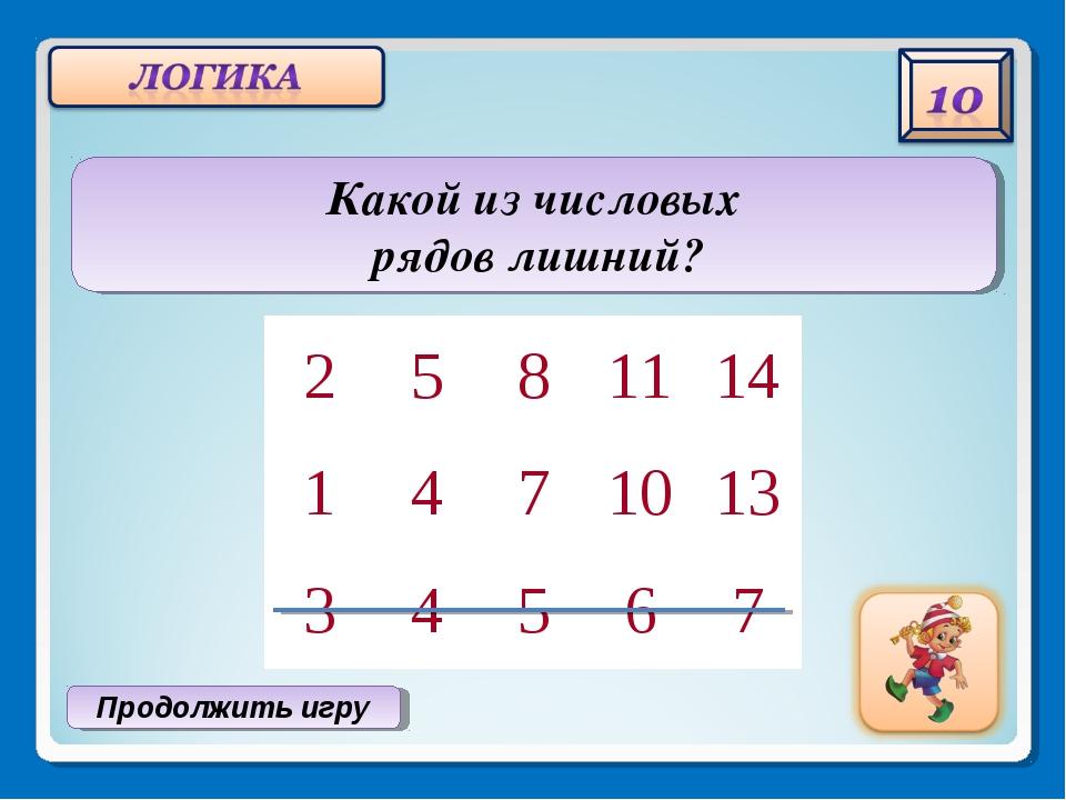 Продолжить игру Какой из числовых рядов лишний? 2581114 1471013 345...