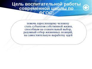 Мащенко О.Н. Цель воспитательной работы современной школы по ФГОС: помочь взр