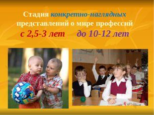 Стадия конкретно-наглядных представлений о мире профессий с 2,5-3 лет до 10-1