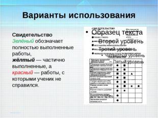 Варианты использования Свидетельство Зелёный обозначает полностью выполненные