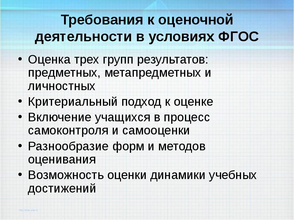 Требования к оценочной деятельности в условиях ФГОС Оценка трех групп результ...