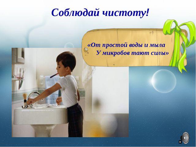 Соблюдай чистоту! «От простой воды и мыла У микробов тают силы»