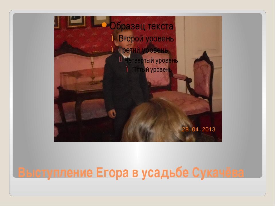 Выступление Егора в усадьбе Сукачёва