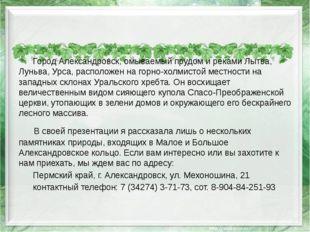 Город Александровск, омываемый прудом и реками Лытва, Луньва, Урса, располож