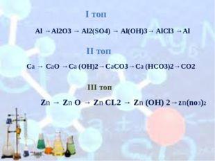 Al →Al2O3 → Al2(SO4) → Al(OH)3→ AlCl3 →Al Ca → CaO →Ca (OH)2→CaCO3→Ca (HCO3)2