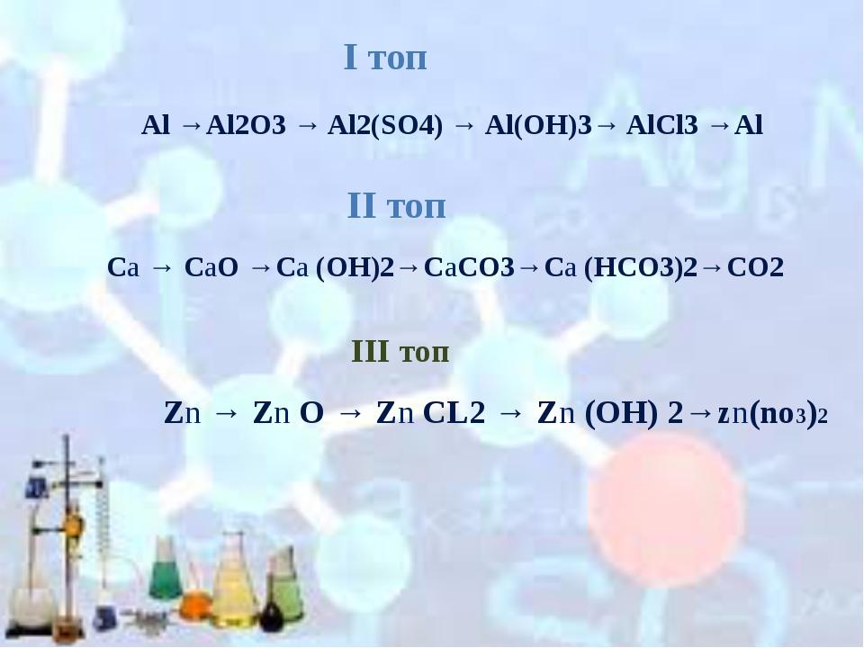 Al →Al2O3 → Al2(SO4) → Al(OH)3→ AlCl3 →Al Ca → CaO →Ca (OH)2→CaCO3→Ca (HCO3)2...