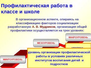 Профилактическая работа в классе и школе В организационном аспекте, опираясь