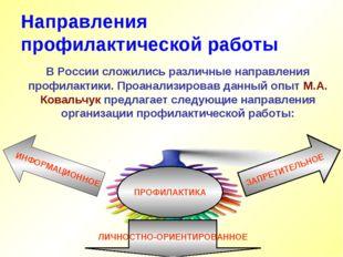 Направления профилактической работы В России сложились различные направления