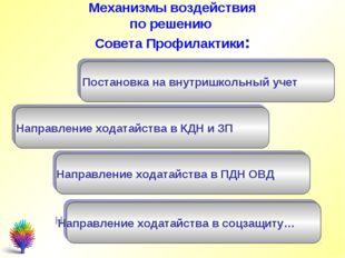Механизмы воздействия по решению Совета Профилактики: Постановка на внутришко