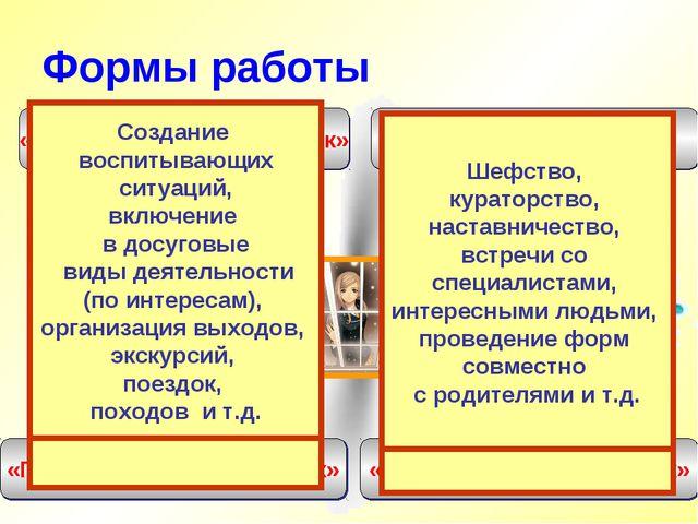 Формы работы «Педагог-ребенок» «Педагог-предмет- ребенок» «Педагог-ситуация-р...