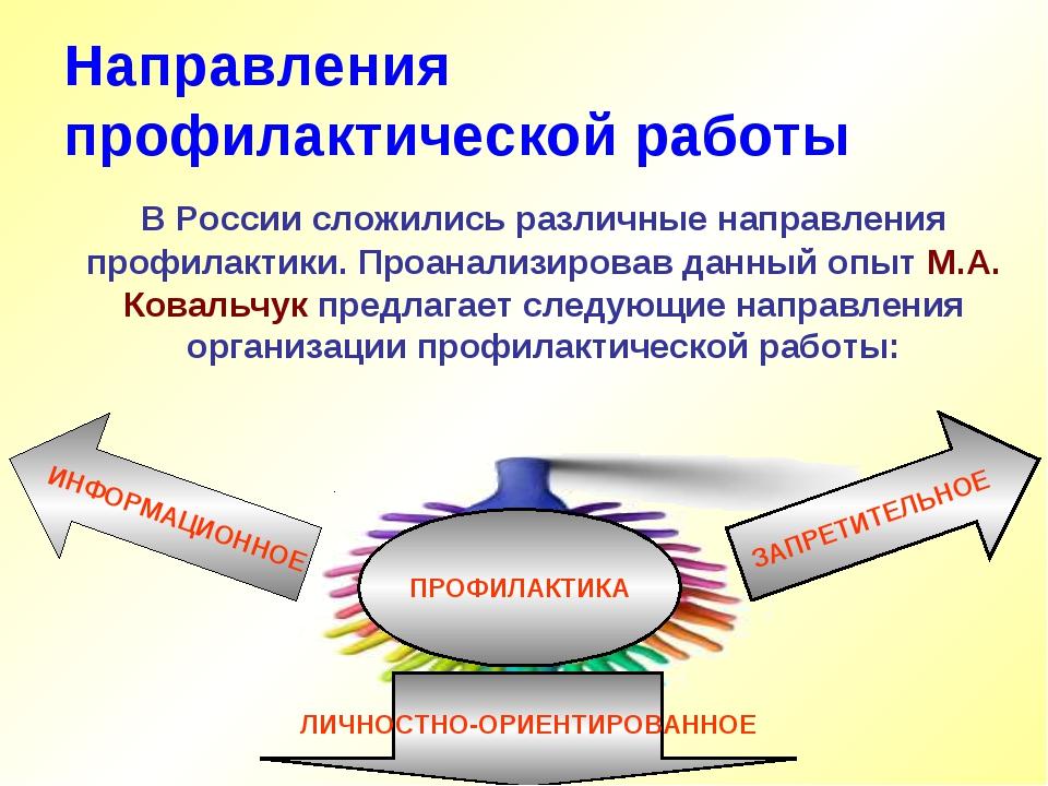 Направления профилактической работы В России сложились различные направления...