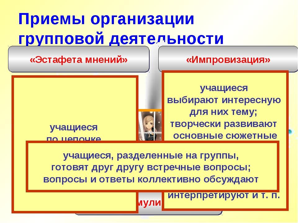 Приемы организации групповой деятельности «Импровизация» «Эстафета мнений» «С...