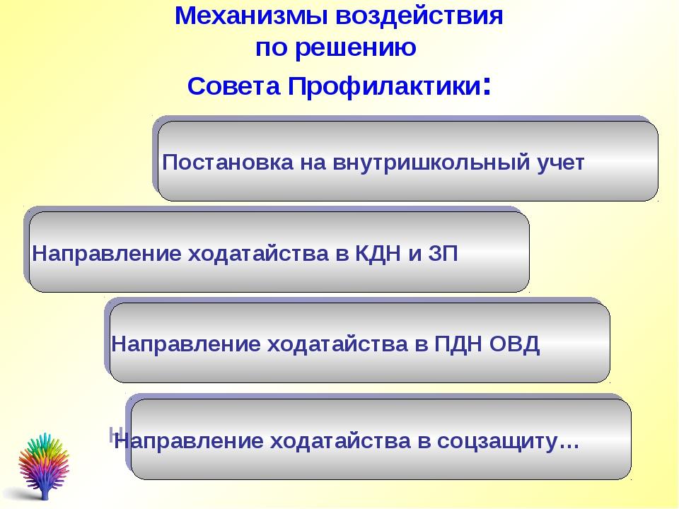 Механизмы воздействия по решению Совета Профилактики: Постановка на внутришко...