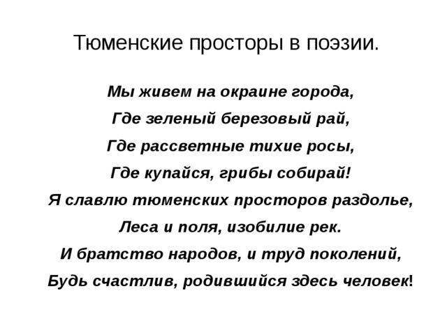 Тюменские просторы в поэзии. Мы живем на окраине города, Где зеленый березов...