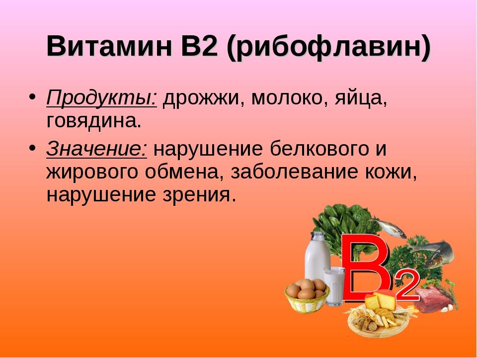 Витамин В2 (рибофлавин) Продукты: дрожжи, молоко, яйца, говядина. Значение: н...