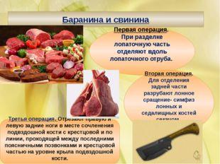 Баранина и свинина Первая операция. При разделке лопаточную часть отделяют вд
