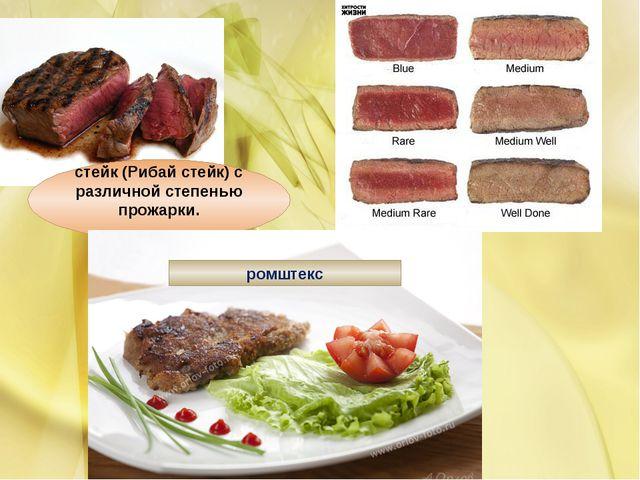 стейк (Рибай стейк) с различной степенью прожарки. ромштекс