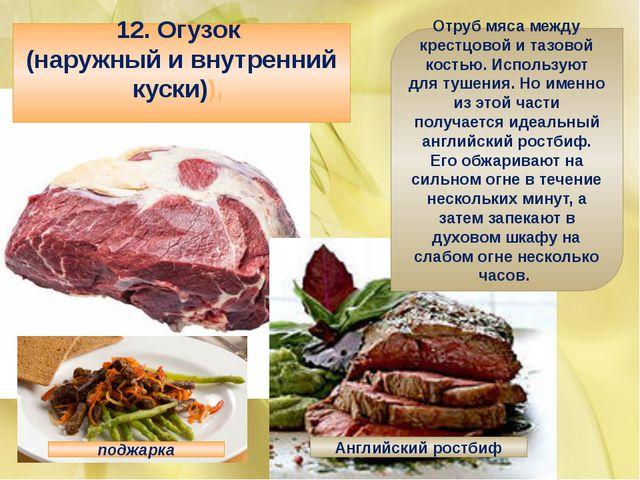 12. Огузок (наружный и внутренний куски)), Отруб мяса между крестцовой и таз...