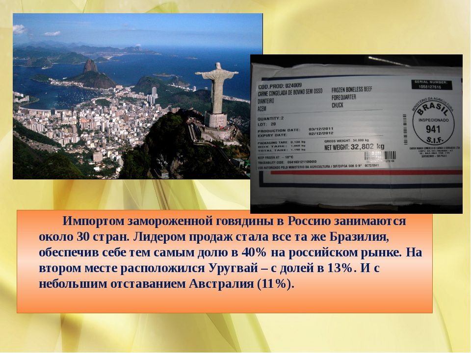 Импортом замороженной говядины в Россию занимаются около 30 стран. Лидером п...