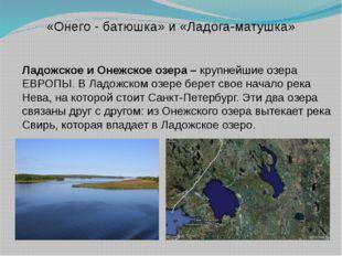 Ладожское и Онежское озера – крупнейшие озера ЕВРОПЫ. В Ладожском озере бере