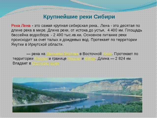 Крупнейшие реки Сибири Река Лена -это самая крупная сибирская река.. Лена -...