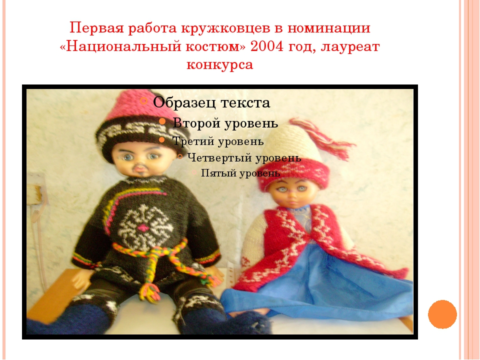 Первая работа кружковцев в номинации «Национальный костюм» 2004 год, лауреат...
