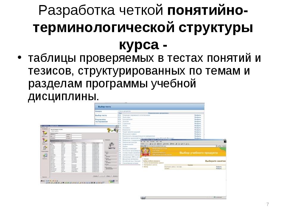 Разработка четкой понятийно-терминологической структуры курса - таблицы прове...