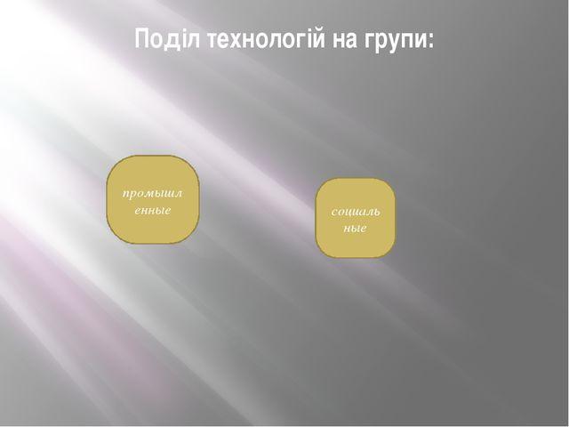 Поділ технологій на групи: промышленные социальные