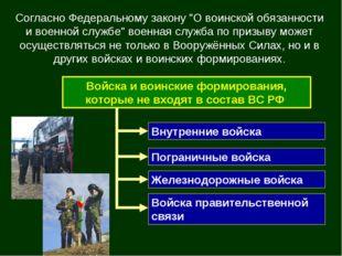 """Согласно Федеральному закону """"О воинской обязанности и военной службе"""" военна"""