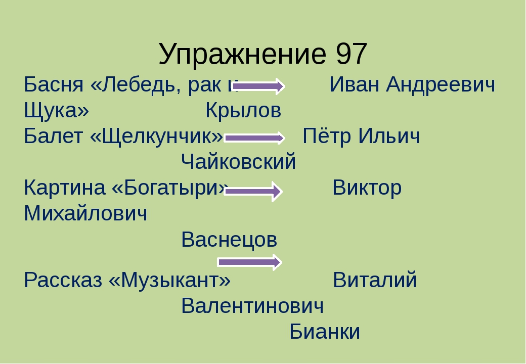 Упражнение 97 Басня «Лебедь, рак и Иван Андреевич Щука» Крылов Балет «Щел...